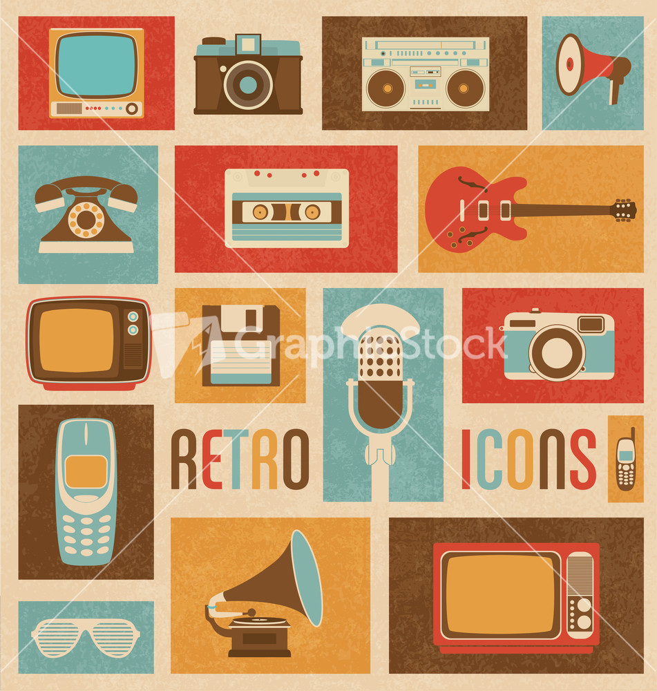 retro style media icons vintage elements nostalgic. Black Bedroom Furniture Sets. Home Design Ideas