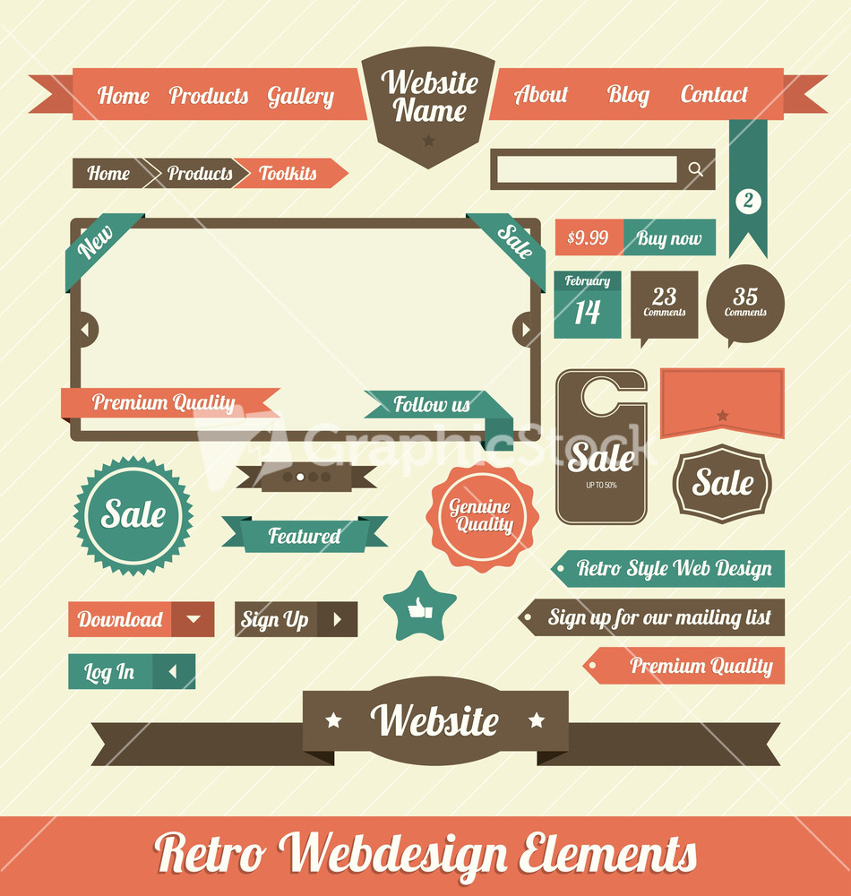 Elements By Design : Retro web design elements stock image