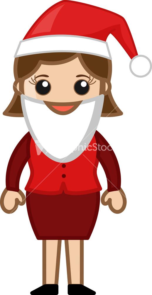 Santa costume on christmas cartoon business characters