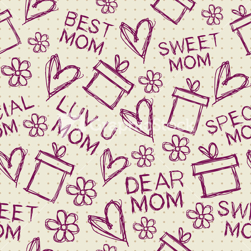 Seamless patterns for mothers day celebration stock image