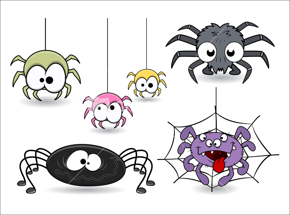 set of cute funny cartoon spiders vectors stock image