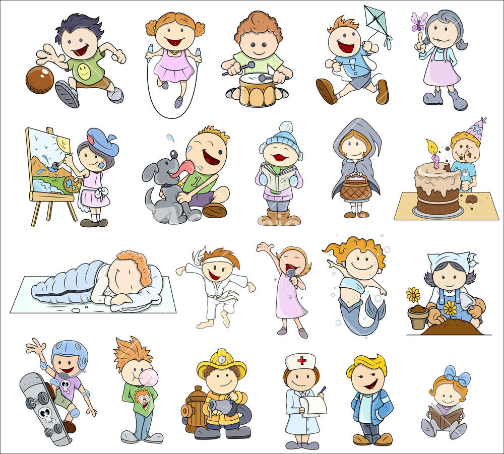 set of various cartoon kids illustrations - Cartoon Pictures Of Kids