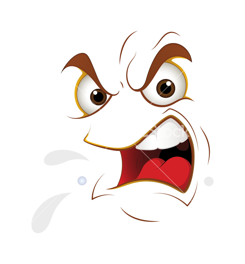 Shouting Cartoon Face Expression Stock Image