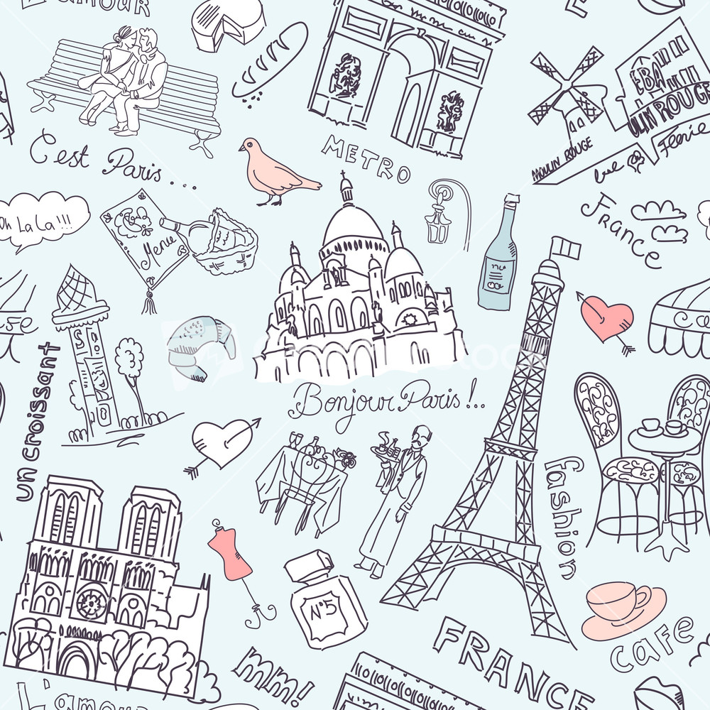 Sightseeing In Paris Seamless Doodles Background Stock Image