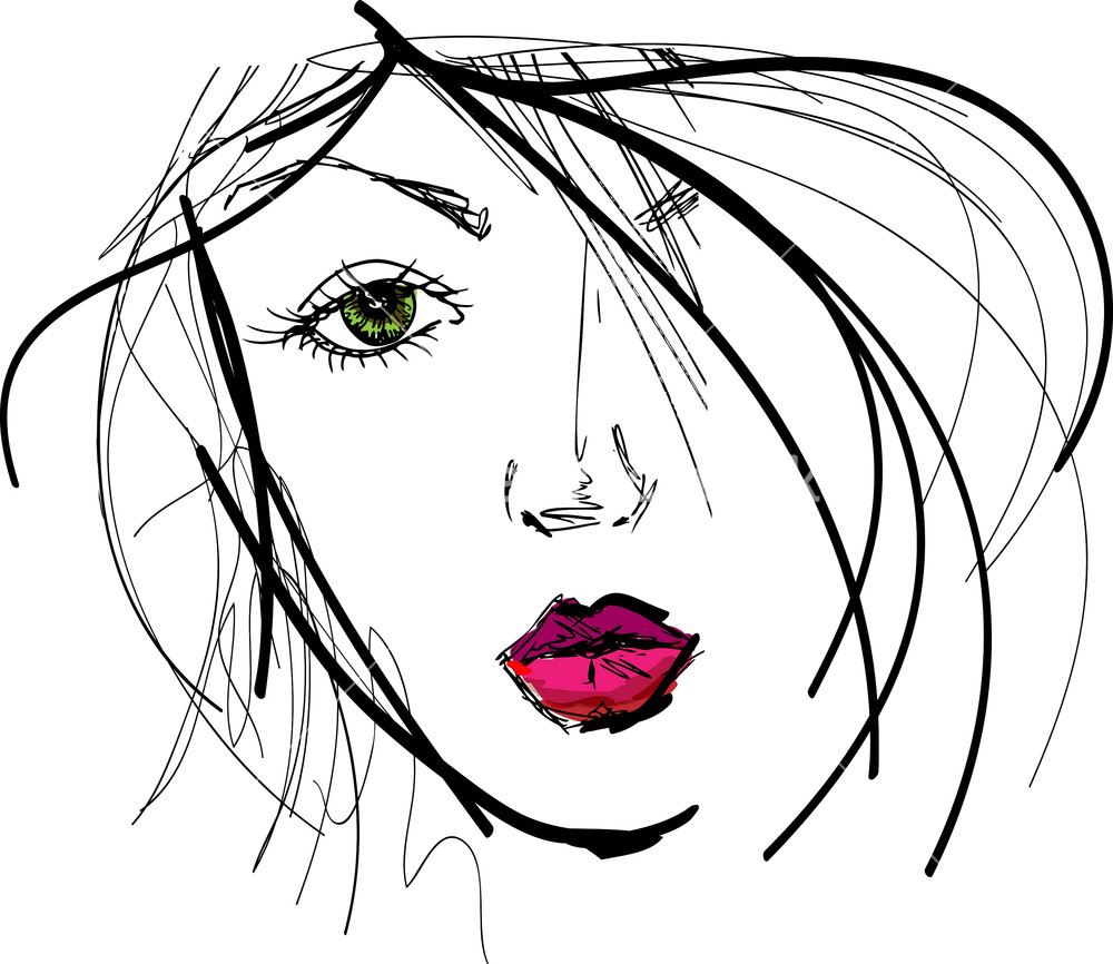 Beautiful Face Line Drawing : Sketch of beautiful woman face vector illustration stock