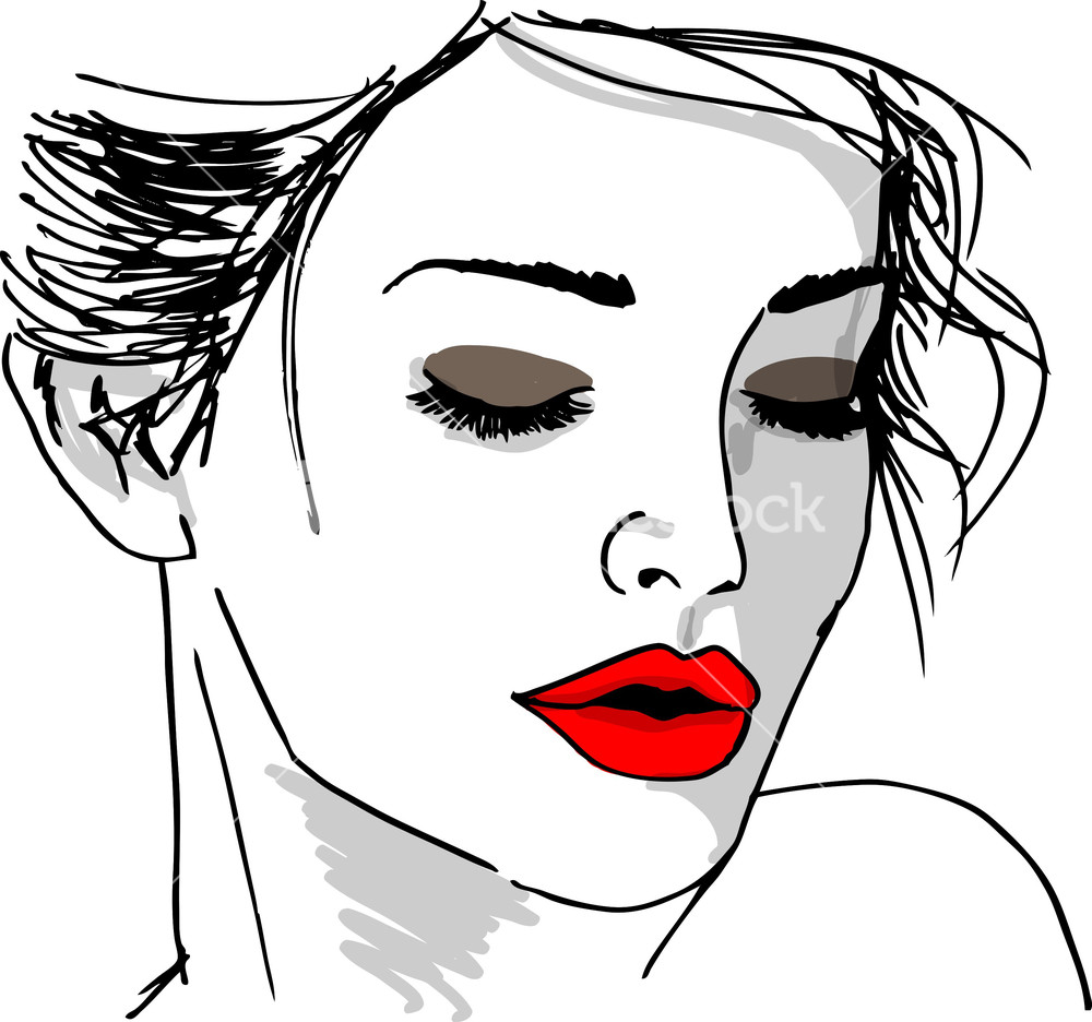 Woman S Face Line Drawing : Royalty free stock images vectors illustrations