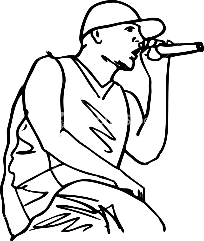 sketch of hip hop singer singing into a microphone vector illustration stock image