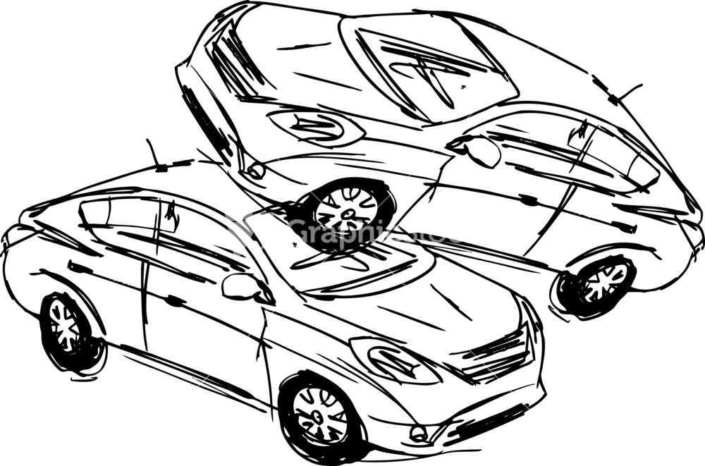 Sketch of two cars in an accident isolated on a white for Car crash coloring pages