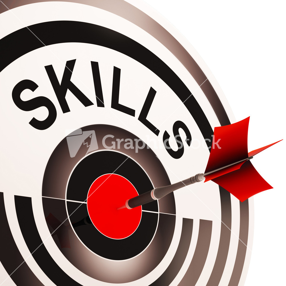 skills target shows aptitude competence and abilities skills target shows aptitude competence and abilities stock image