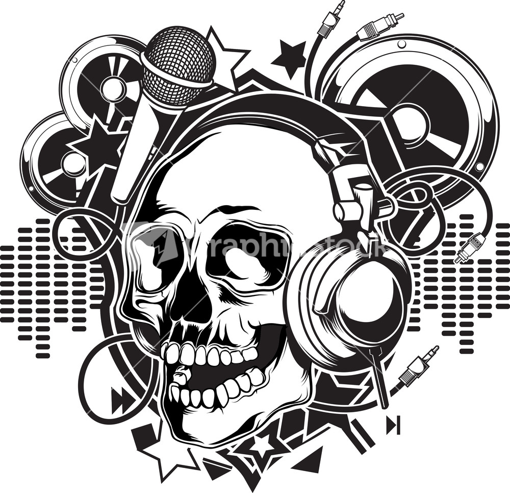 Skull Vector Element With Headphone And Microphone