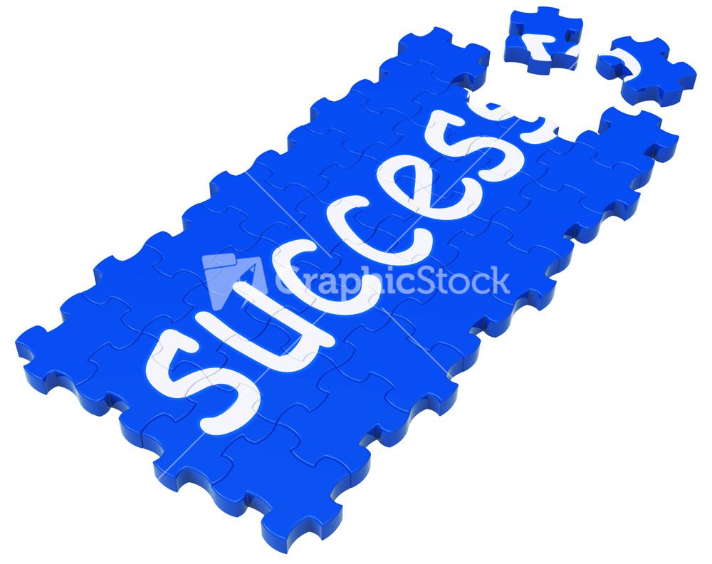 success puzzle shows accomplishment and successful business success puzzle shows accomplishment and successful business stock image