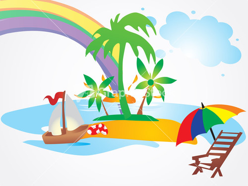 Happy Summer Holidays Background Vector: Summer Background With Palm Tree And Rainbow