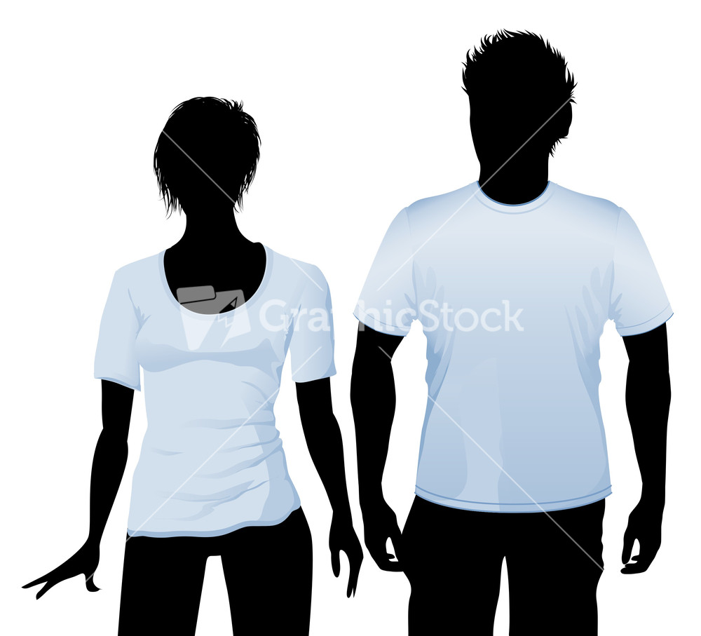 T-shirt And Polo Shirt Design Template With Black Body Silhouette ...