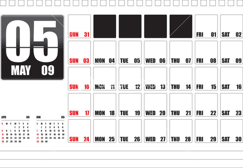 Calendar Showing May : Year calendar showing the month of september