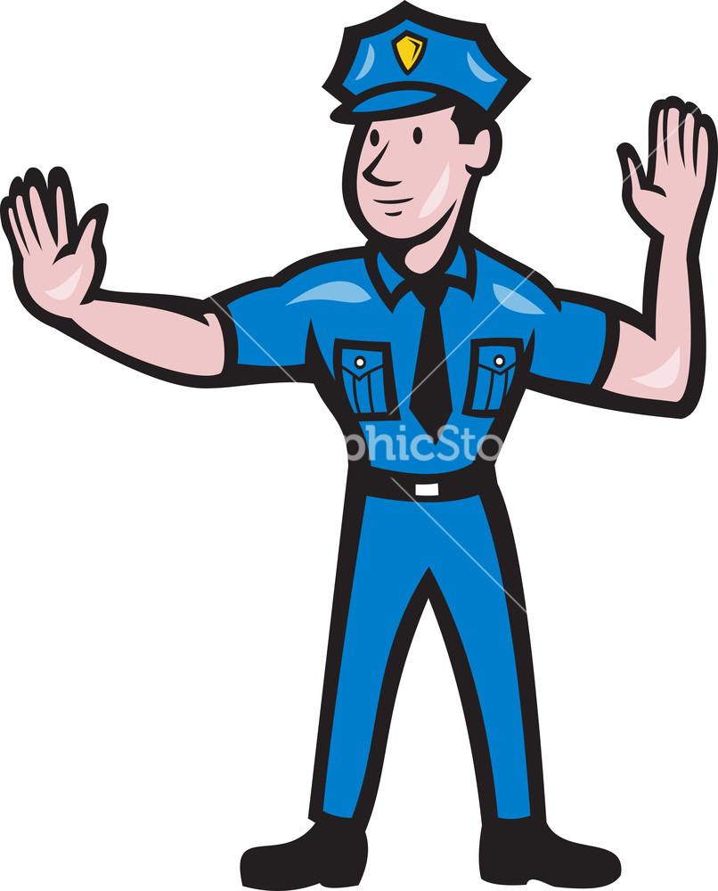 Traffic Policeman Stop Hand Signal Cartoon Stock Image