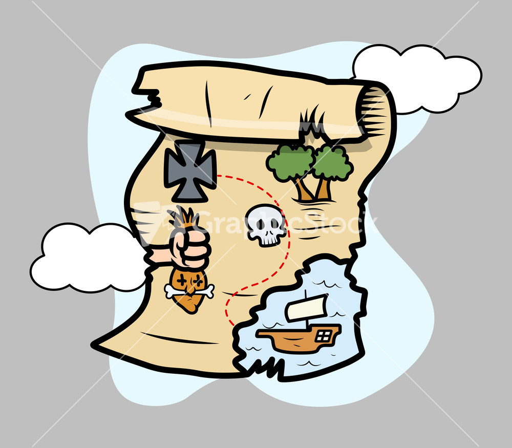 Treasure Island Map - Vector Cartoon Illustration Stock Image