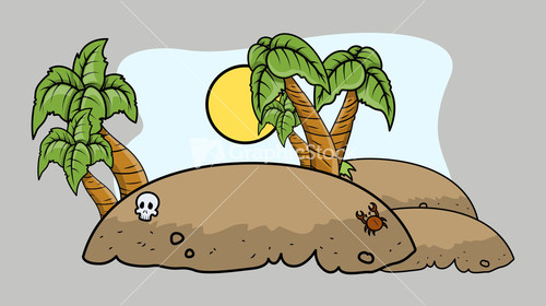 Tropical Island Cartoon: Royalty-Free Cartoon Background