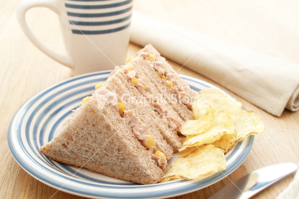 Plated tuna and sweetcorn sandwich for Jj fish and chips