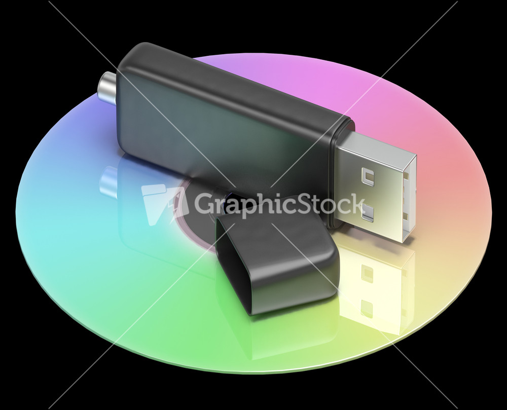 Usb And Dvd Memory Shows Portable Storage Stock Image