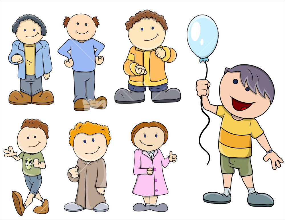 various kids vector illustration in cartoon style - Kids Cartoon Images