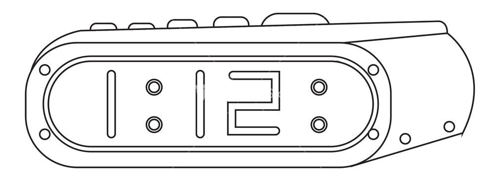 Line Drawing Clock : Vector alarm clock drawing