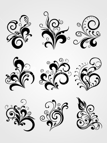 antique scroll pattern black tattoos stock image. Black Bedroom Furniture Sets. Home Design Ideas