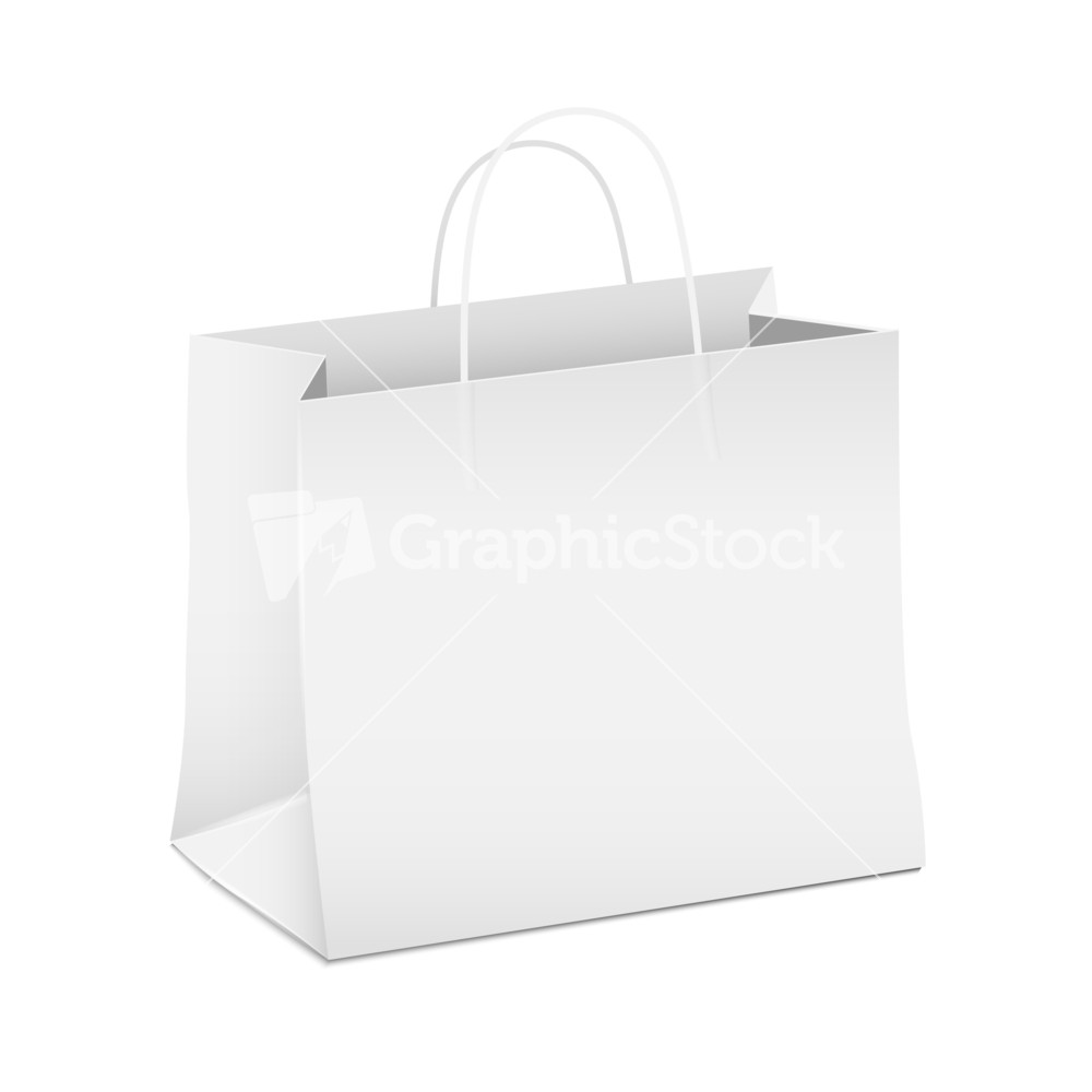 Vector Empty White Shopping Paper Bag Stock Image
