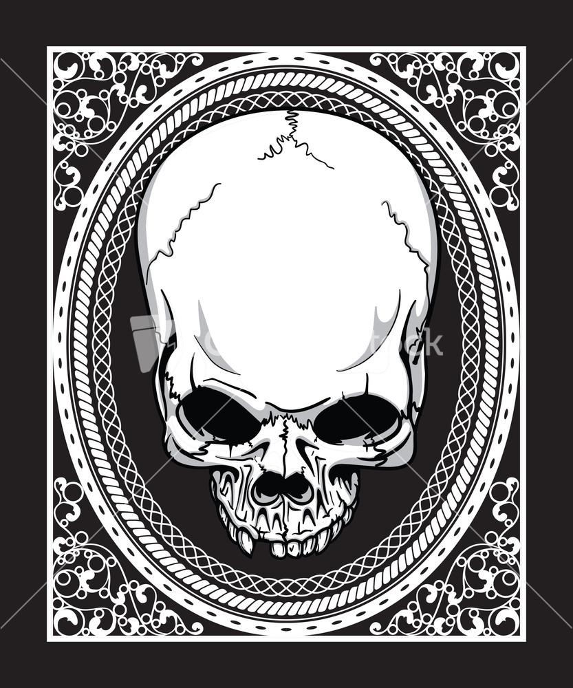 T shirt black and white designs - Vector Frame With Skull Retro T Shirt Design