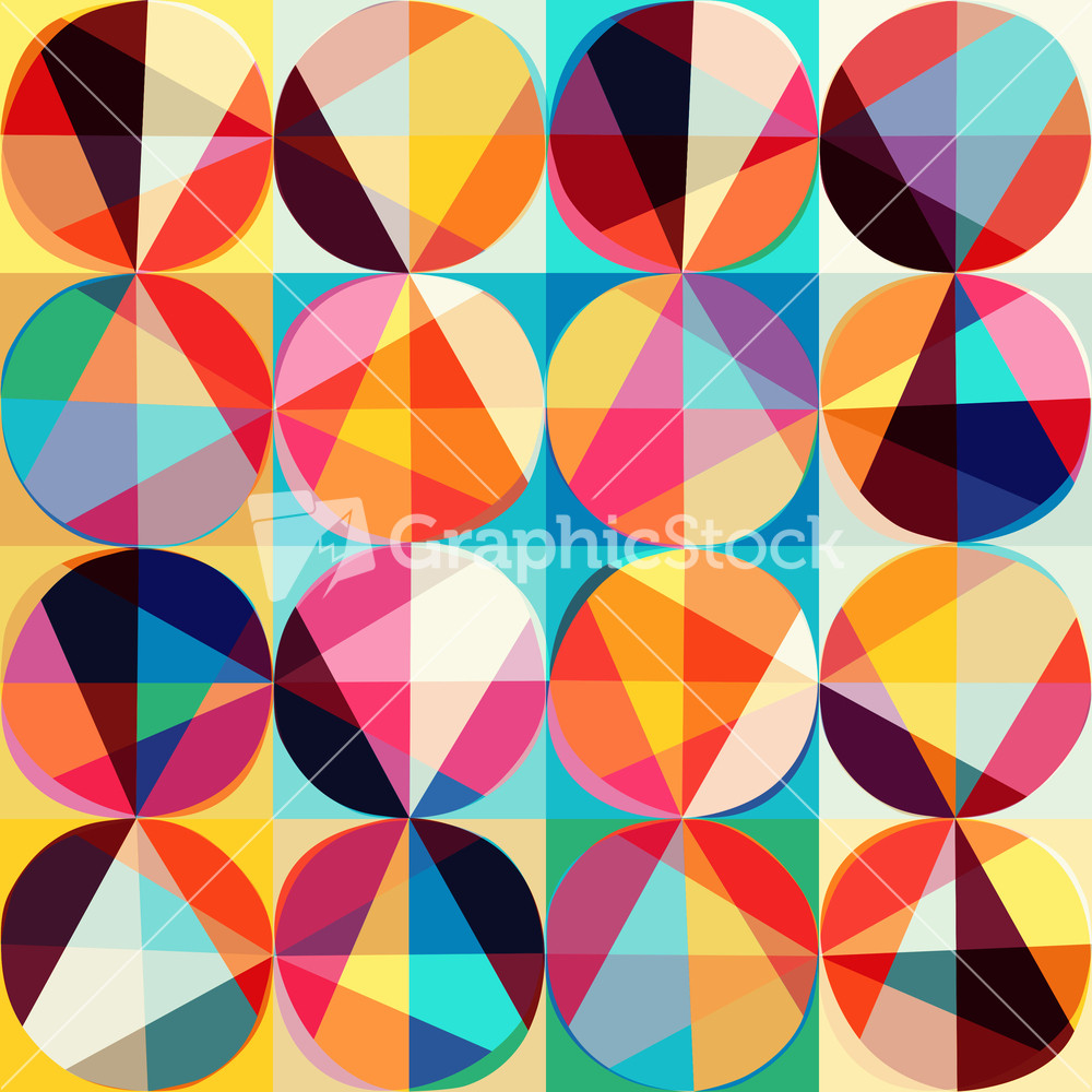 Vector Geometric Pattern Of Circles And Triangles. Colored ...