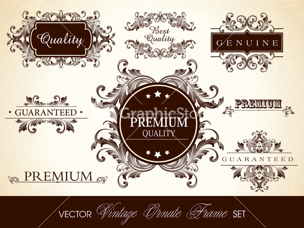 Vector set of calligraphic design ornate frame and page