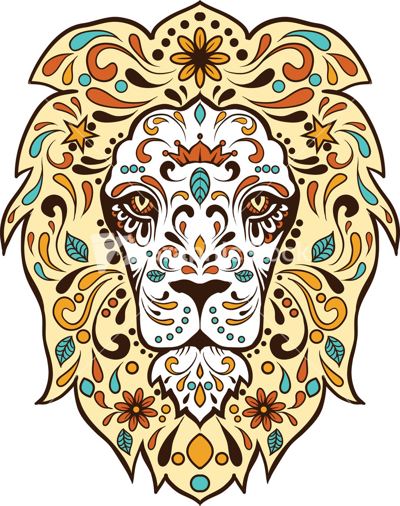 Design t shirt vector - Vector T Shirt Design With Abstract Lion Face