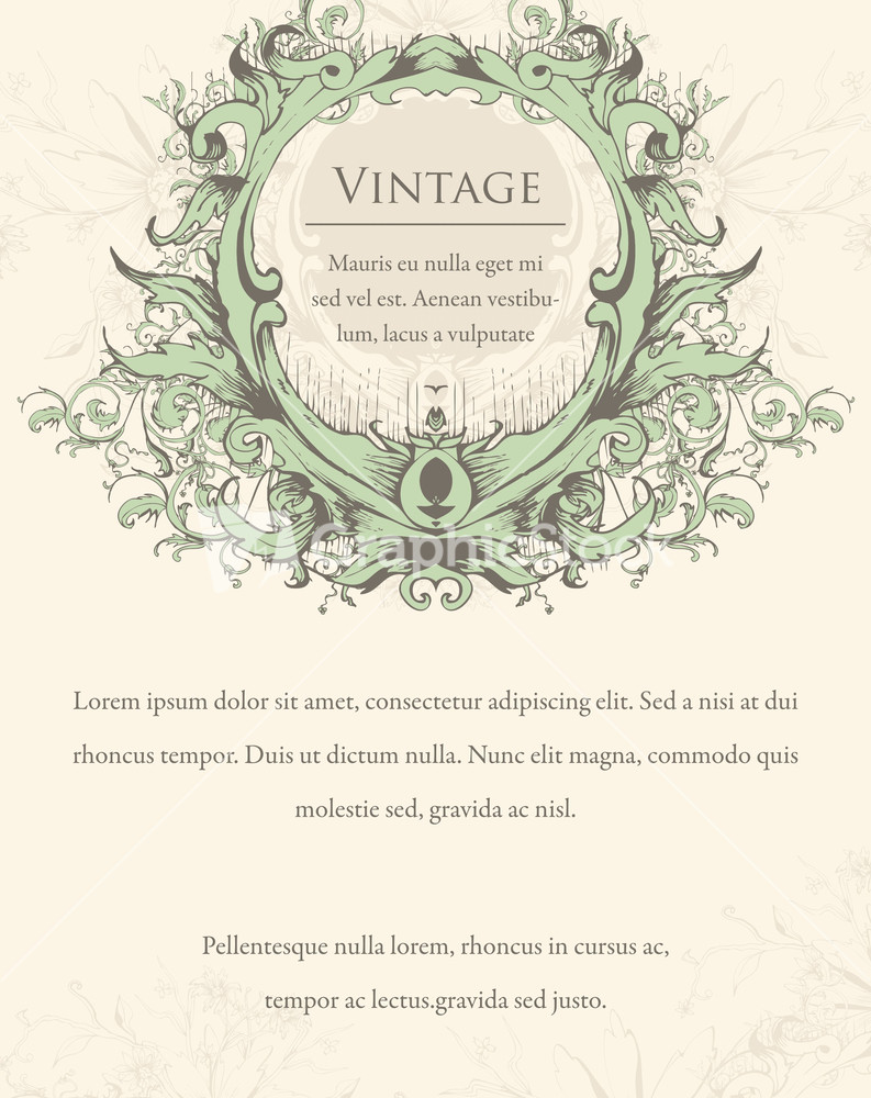 Vector Vintage Invitation With Floral Stock Image