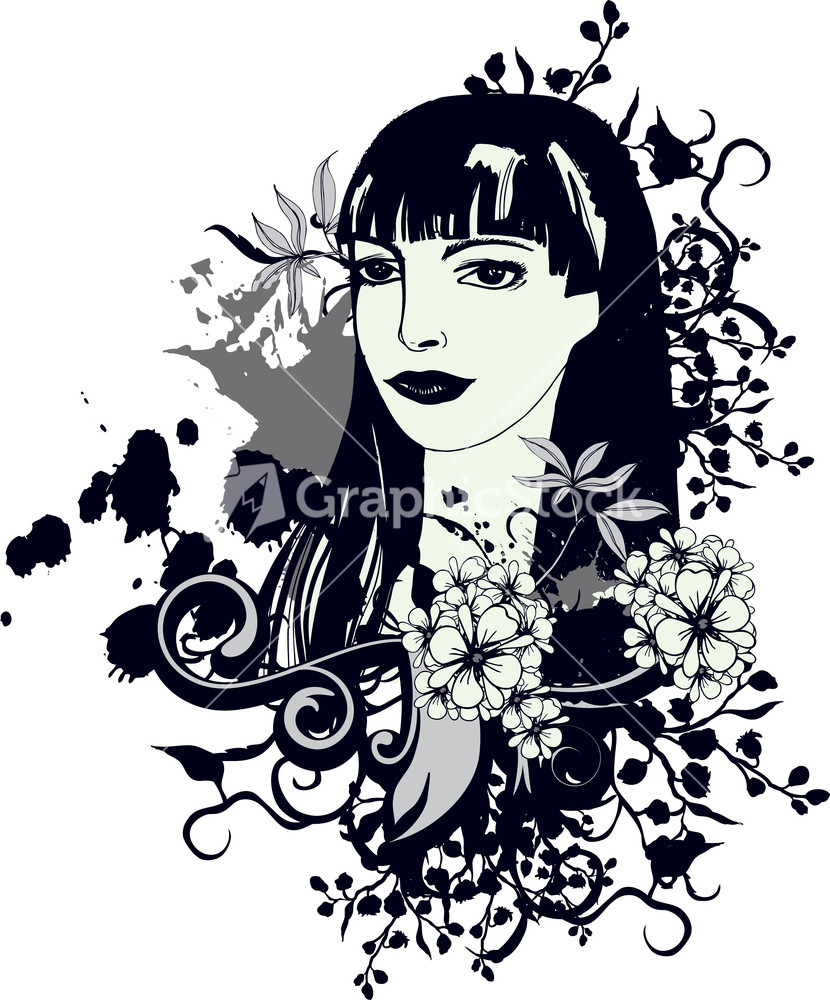 Design t shirt girl - Vector Vintage T Shirt Design With Girl