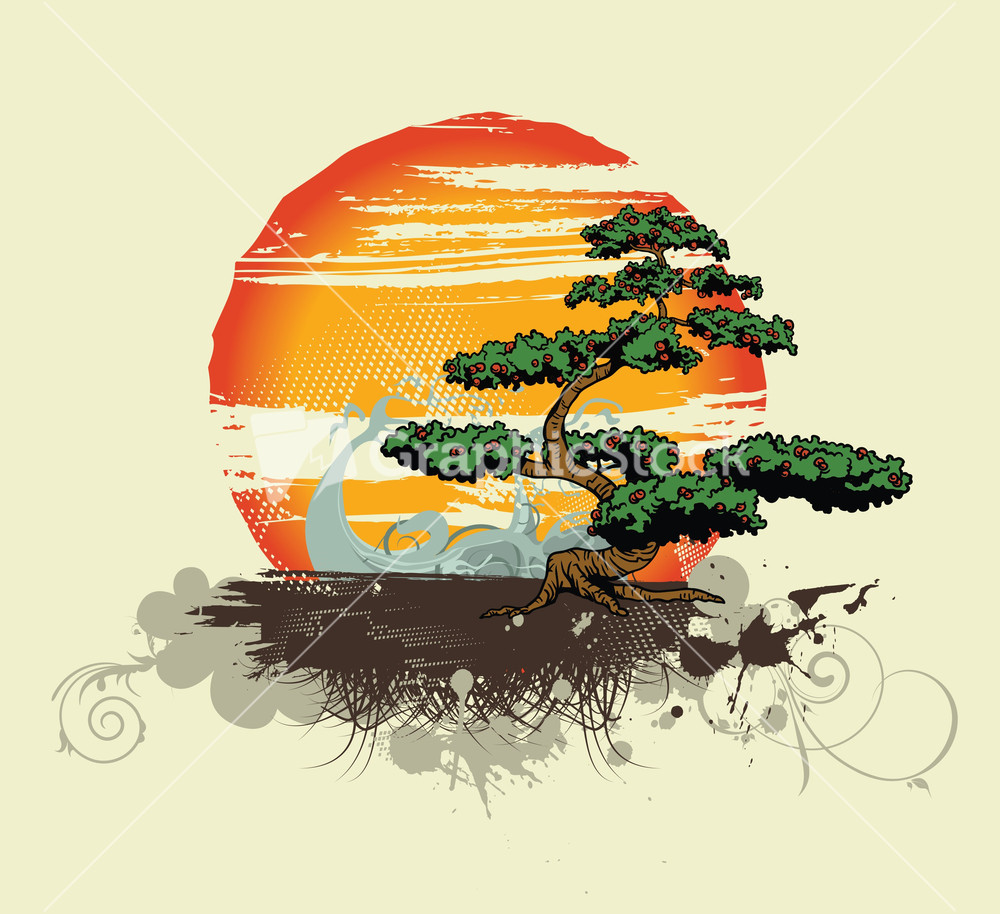 Vector Vintage Tshirt Design With Tree Stock Image