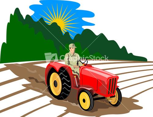 Vintage Tractor Cartoon : Farmer driving vintage tractor cartoon stock image