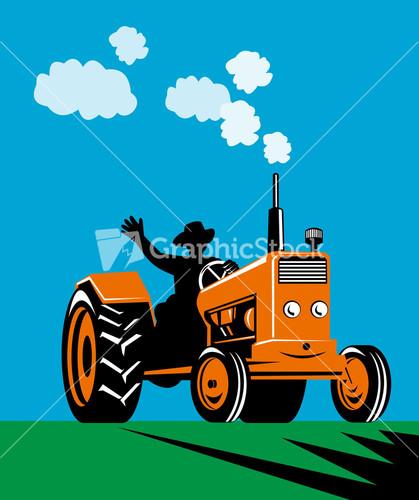 Vintage Tractor Cartoon : Farmer driving vintage tractor cartoon