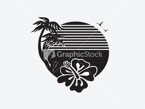 Sunset Vector Black And White
