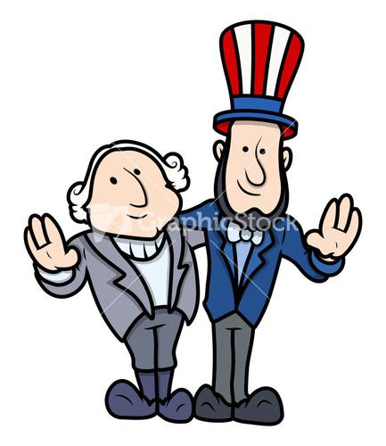 George Washington & Abraham Lincoln Clip Art Cartoon Vector