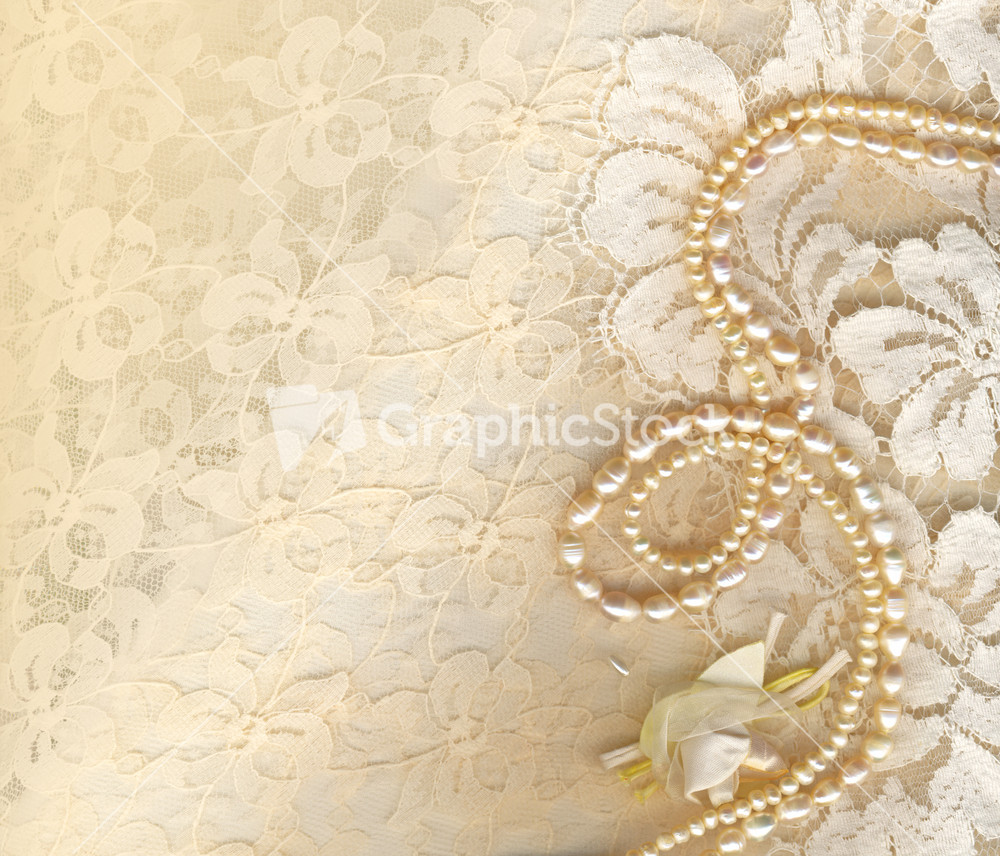 Lace background and pearl necklace Royalty Free Vector