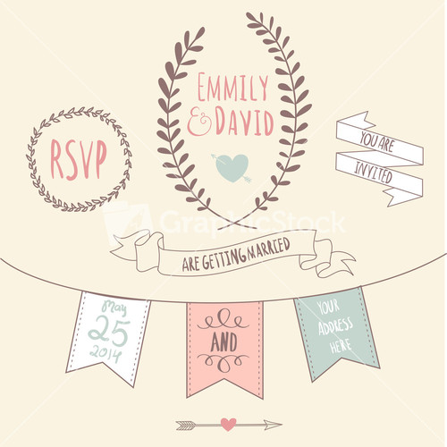 Royalty-Free Wedding Invitation Vector - GraphicStock Stock Image
