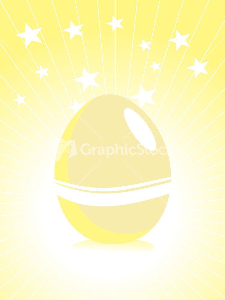 yellow rays background with isolated egg