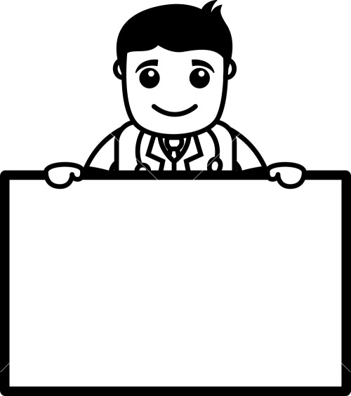 Doctor Holding Blank Banner - Office Cartoon Characters Stock Image