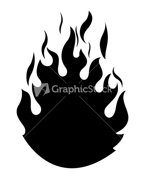 Fire Flame Vector Silhouette Stock Image