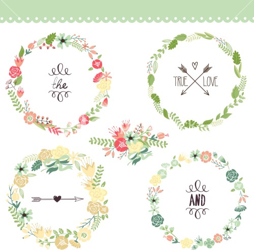 ... Wreath Perfect For Wedding Invitations And Birthday Cards Stock Image