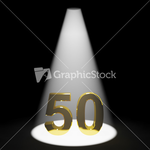 Gold 50th 3d Number Representing Anniversary Or Birthday Stock Image