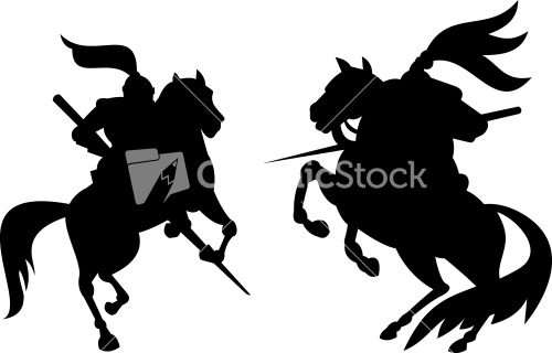 Knight Riding Silhouette Stock Image