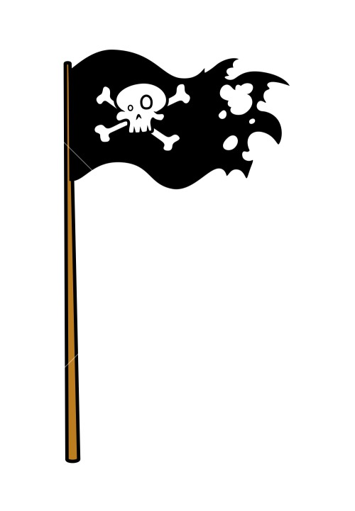 Pirate Flag - Vector Cartoon Illustration Stock Image