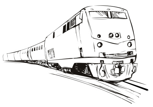 Train Sketch Style Stock Image