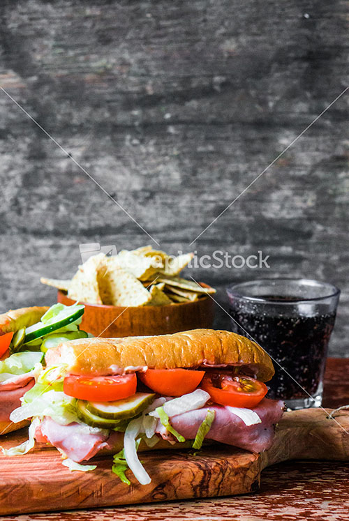 Italian Hoagie With Ham And Vegetables Stock Image