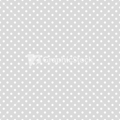 Pattern of white polka dots on a light grey background